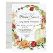 Bridal Shower Fall Floral Wreath White Pumpkin Invitations