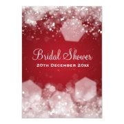 5x7 Sparkling Night Red Elegant Bridal Shower Personalized Invite