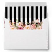 Vintage Floral Black White Stripes Wedding Envelope