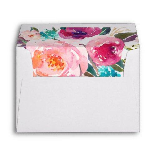 Watercolor Purple Pink Floral Liner Decor Envelope