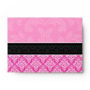 A6 Half Hot Pink Black & White Damask Envelopes