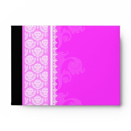 A6 Hot Pink One-side Damask Envelopes