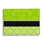 A6 Lime Green Black & White Damask Lined Envelopes