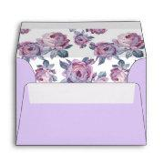 A6 Purple Watercolor Peony Wedding Return Address Envelope