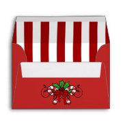 A6 Red Candy Cane Striped Christmas Envelopes
