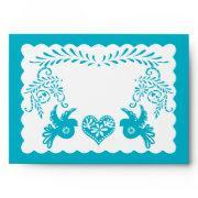 A7 Papel Picado Pool Blue Fiesta Wedding Envelopes