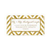 Address Label Wedding Gold Glitter Chevron Pattern