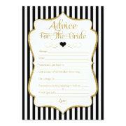 Advice For The Bride Black Gold Bridal Shower Game