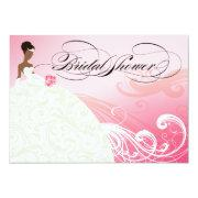 African American Bride Bridal Shower | Bridal Pink Invitations