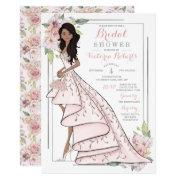 African American Bride Floral Bridal Shower Invitations