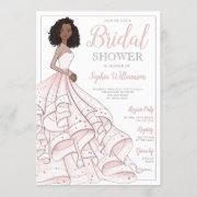 African American Glam Bride Bridal Shower Invitation