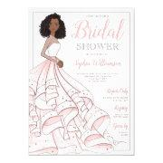 African American Glam Bride Bridal Shower Invitations
