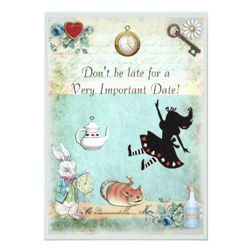Alice In Wonderland Don't Be Late Bridal Shower Invitations