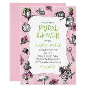 Alice In Wonderland Pink And Green Bridal Shower Invitations