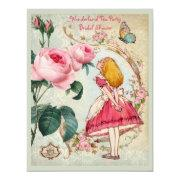 Alice in Wonderland Roses Collage Bridal Shower Invites