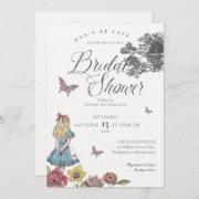Alice In Wonderland Vintage Story Bridal Shower Invitation