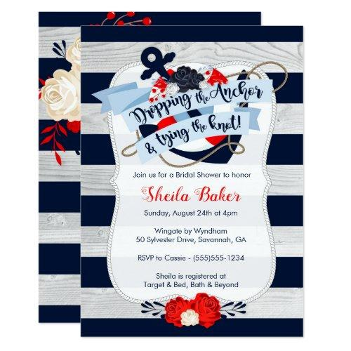 Anchor Bridal Shower Invitation - Nautical Navy
