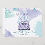 Aqua And Lilac Surprise Drive Thru Bridal Shower Invitation