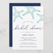 Aqua & Navy Starfish Bridal Shower Invitation