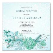 Aqua Teal Blue Watercolor Succulent Bridal Shower