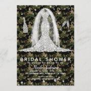 Army Camo Diamond Wedding Dress Bridal Shower Invitation
