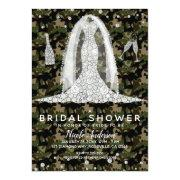 Army Camo Diamond Wedding Dress Bridal Shower Invitations