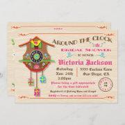 Around The Clock Bridal Shower Folk Art Cuckoo Invitation
