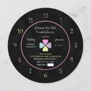 Around The Clock Bridal Shower Invitation Chalk