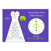 Around The Clock Bridal Shower Invitations Purple
