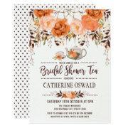 Autumn Fall Floral Boho Bridal Tea Party Invite