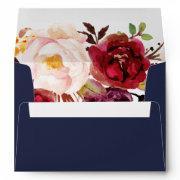 Autumn Marsala Floral Addressed Wedding Envelope