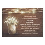 Bridal's Breath Mason Jar Lights Bridal Shower Invitations
