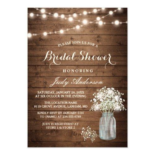 Bridal's Breath Mason Jar Rustic Wood Bridal Shower Invitations