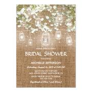 Bridal's Breath Rustic Burlap Wedding Bridal Shower Invitation