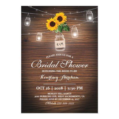 Backyard Rustic Sunflower Jar Lights Bridal Shower Invitations