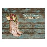 barn wood cowboy boots western bridal shower card