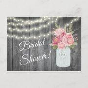 Barnwood With Watercolor Peonies And Garden Lights Invitation Postinvitations