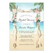 Beach Arbor Arch Floral Tropical Bridal Shower Invitations