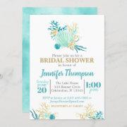 Beach Bridal Shower Teal And Gold Watercolor Invitation
