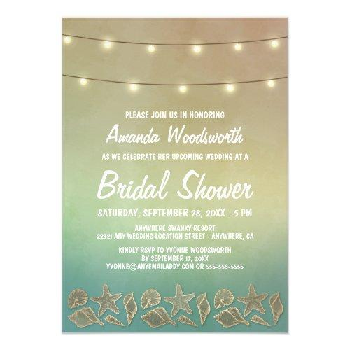 Beach Starfish Seashell Bridal Shower Invitations