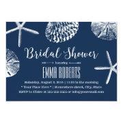 Beach Wedding Bridal Shower Navy Blue Seashells