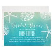 Beach Wedding Seashells Watercolor Bridal Shower Invitations
