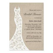 Beautiful Burlap Bridal Shower Invitation Invite