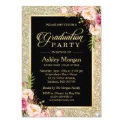 Beautiful Floral Gold Sparkles Graduation Party