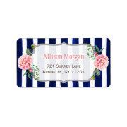 Beautiful Floral Silver Glitter Navy Blue Stripes Label