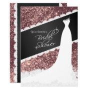 Beautiful Rose Gold Glitter Bridal Shower Invitation