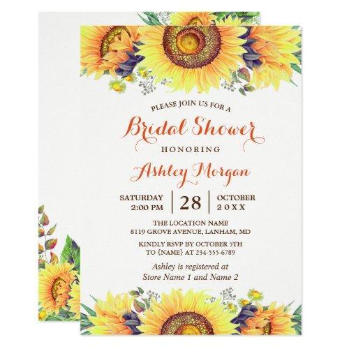 Beautiful Sunflowers Rustic Chic Bridal Shower Invitations