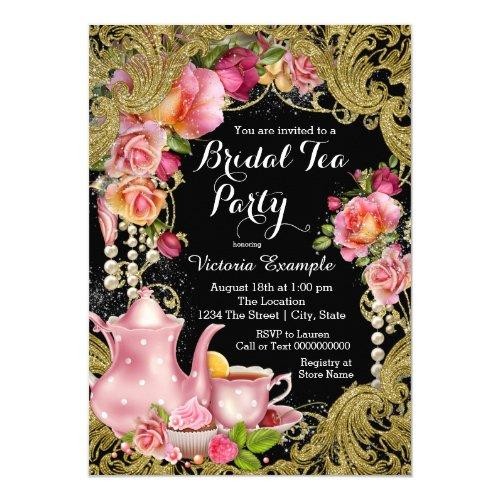 Black And Gold Glitter Rose Tea Party Invitations