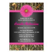 Black And Pink, Camo, Bridal Shower Invitation