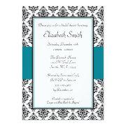 Black And Teal Damask Bridal Shower